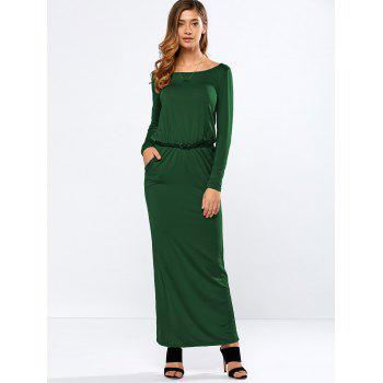 Belted Maxi Dress with Pockets