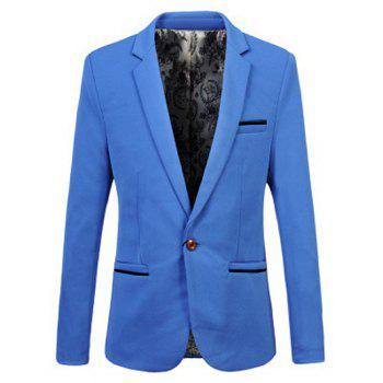 Edging Embellished Lapel One Button Business Blazer - M M
