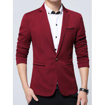 Edging Embellished Lapel One Button Business Blazer