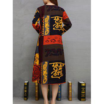 Pocket Design Printed Dress - YELLOW YELLOW