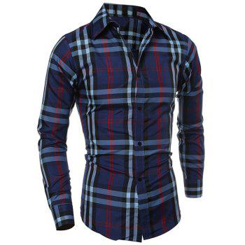 Turn-Down Collar Long Sleeve Tartan Pattern Shirt
