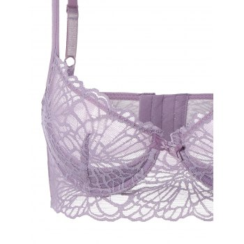 See-Through Push Up Bra Set with Lace - LIGHT PURPLE LIGHT PURPLE
