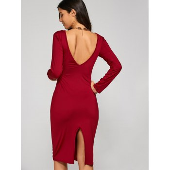 Long Sleeve Backless Pencil Cocktail Dress