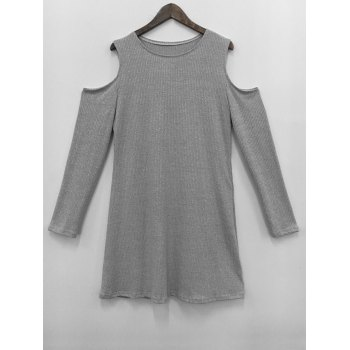 Cold Shoulder Knit Short Jumper Dress - GRAY GRAY