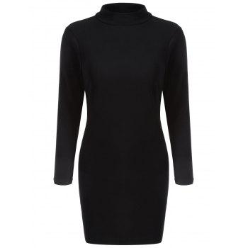 Long Sleeve Back Cutout Bodycon Dress