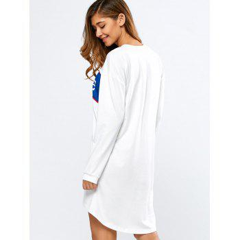 Slouchy Sweatshirt Dress - WHITE S