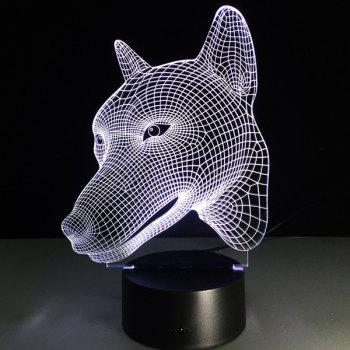 Colorful Dog Head 3D Visual LED Touching Night Light - COLORFUL