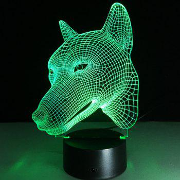 Colorful Dog Head 3D Visual LED Touching Night Light - COLORFUL COLORFUL