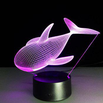Color Changing Dolphin Shape 3D Visual LED Night Light -  COLORFUL