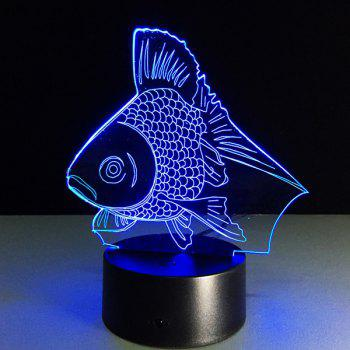 Color Changing Fish Shape 3D Visual LED Night Light - COLORFUL COLORFUL