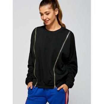 Round Neck Zipper Slit Sweatshirt