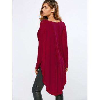 High-Low Wrap T-Shirt - RED RED