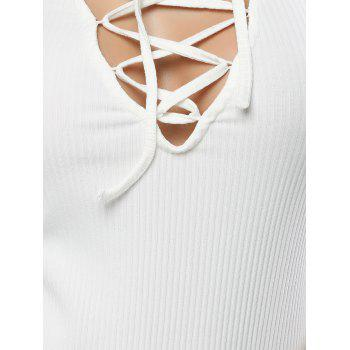 Fitting Lace-Up T-Shirt - WHITE L