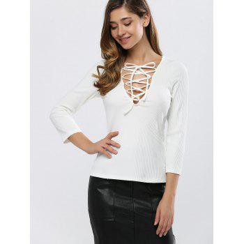 Fitting Lace-Up T-Shirt - WHITE WHITE