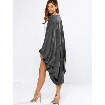 Collarless Bat-Wing Sleeve Duster Coat