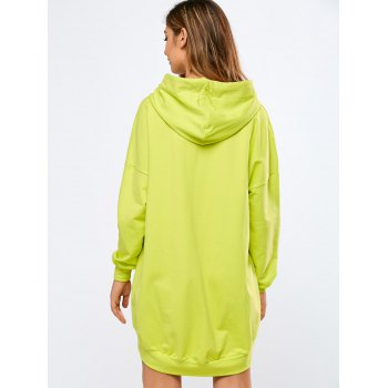 Sweat à Capuche Long Oversize - Fluorescent Jaune L
