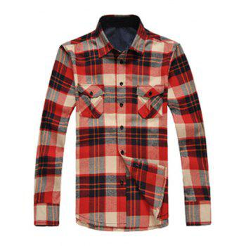 Button Up Breast Pockets Plaid Shirt - RED RED