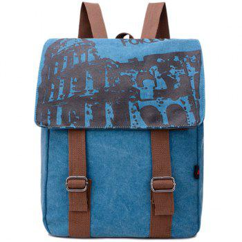 Canvas Colour Spliced Printed Backpack