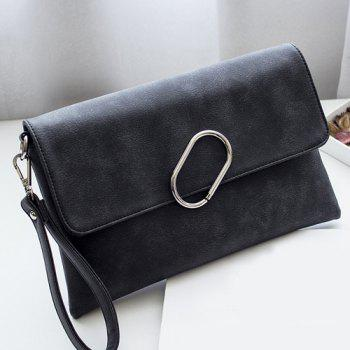 Metal Covered Closure PU Leather Clutch Bag - BLACK BLACK