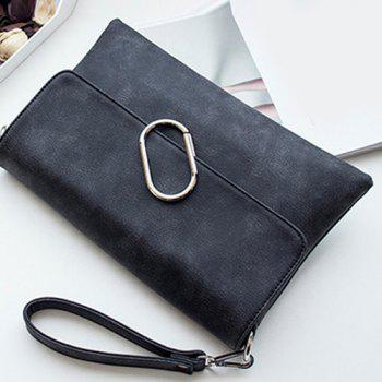Metal Covered Closure PU Leather Clutch Bag -  BLACK