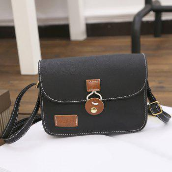 Stitching Square Shape PU Leather Crossbody Bag