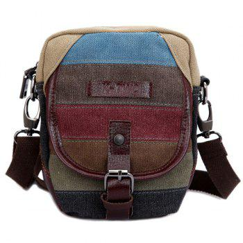 Canvas Buckle Striped Pattern Crossbody Bag