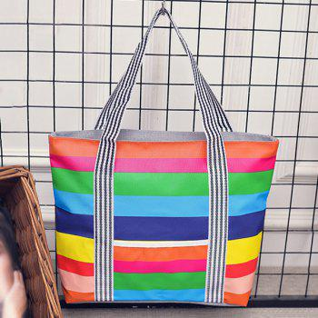 Canvas Color Spliced Striped Pattern Shoulder Bag