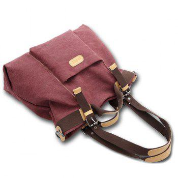 Colour Spliced Canvas Buckles Shoulder Bag - RED VIOLET