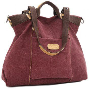 Colour Spliced Canvas Buckles Shoulder Bag