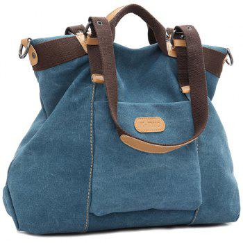 Colour Spliced Canvas Buckles Shoulder Bag - BLUE BLUE