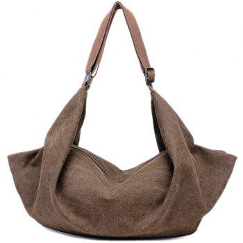 Canvas Zip Metal Shoulder Bag