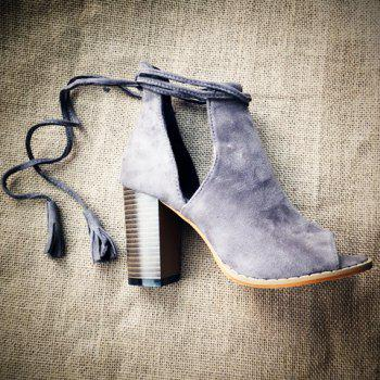Tassels Peep Toed Chunky Heel Ankle Boots - GRAY GRAY