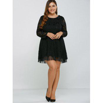 Openwork Lace A-Line Dress - BLACK BLACK