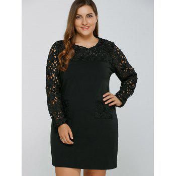 Openwork Lace Spliced Shift Dress