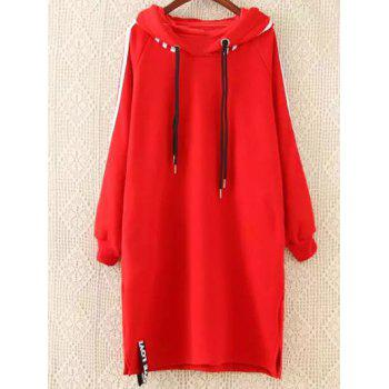 Plus Size Hoodie Dress - RED XL