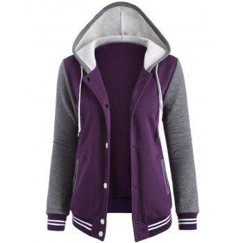 Contrast Sleeve Fleece Baseball Purple Hoodie Jacket