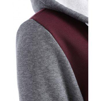 Contrast Sleeve Fleece Baseball Hoodie Jacket, WINE RED, S in ...