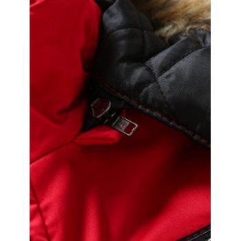 Furry Hood Zip-Up Applique Pockets Padded Coat - RED XL