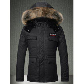 Furry Hood Zip-Up Applique Pockets Padded Coat - BLACK S