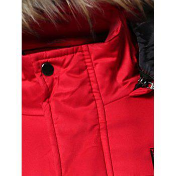 Furry Hood Zip-Up Applique Pockets Padded Coat - S S
