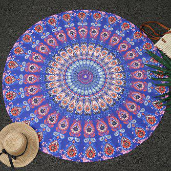 Romantic Ethnic Feather Mandala Vortex Print Round Beach Throw