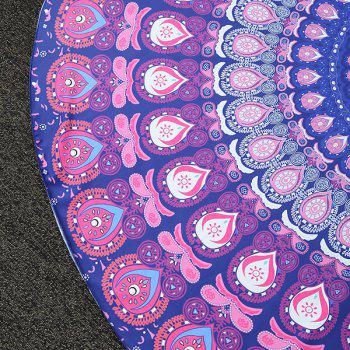 Ethnic Feather Mandala Vortex Print Round Beach Throw - PURPLE PURPLE