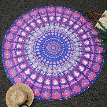 Ethnic Feather Mandala Vortex Print Round Beach Throw