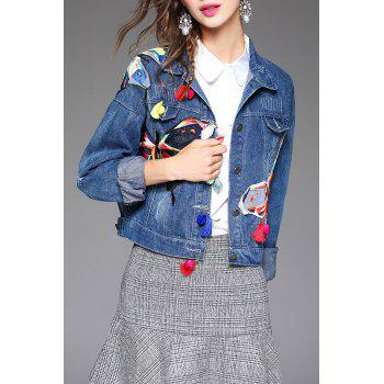 Butterfly Embroidered Denim Shirt Jacket