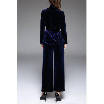 V Neck Belted Wrap Coat and Wide Leg Pants - DEEP BLUE XL