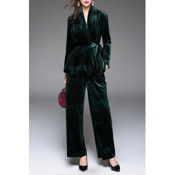 V Neck Belted Wrap Coat and Wide Leg Pants