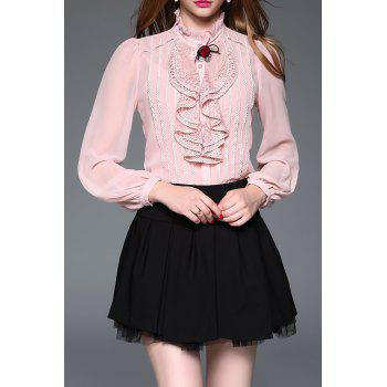 Lace Panel Ruffle Blouse with Cami Top