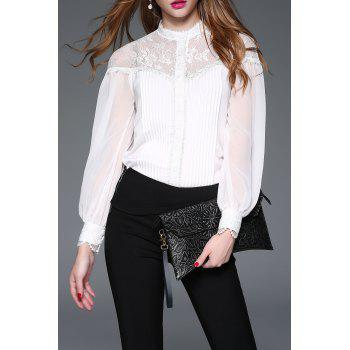 Lace Insert Pleated Blouse