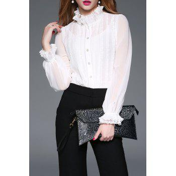 Lace Insert Ruffle Blouse with Cami Top