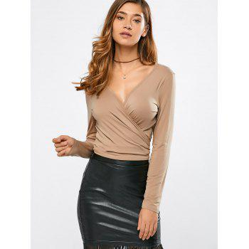 Plunging Neck Wrap Cropped T-Shirt
